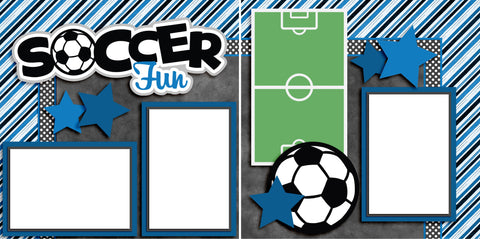Soccer Fun Blue - Digital Scrapbook Pages - INSTANT DOWNLOAD