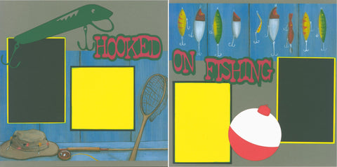 Hooked on Fishing - 582 - EZscrapbooks Scrapbook Layouts Camping - Hiking, Hunting - Fishing