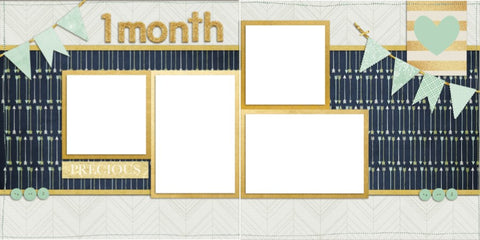 Baby Boy 1 Month - Digital Scrapbook Pages - INSTANT DOWNLOAD