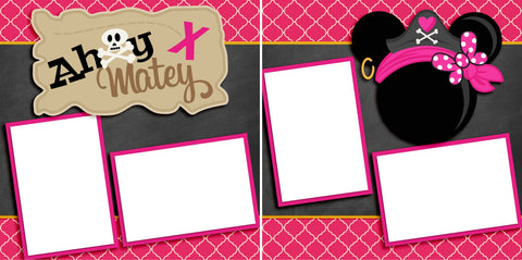 Ahoy Matey Pink - Digital Scrapbook Pages - INSTANT DOWNLOAD