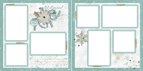 Let It Snow Snowflakes - Digital Scrapbook Pages - INSTANT DOWNLOAD - EZscrapbooks Scrapbook Layouts Christmas, holidays, santa
