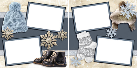 Winter Gear - Digital Scrapbook Pages - INSTANT DOWNLOAD