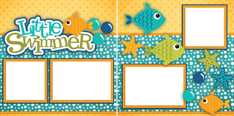 Little Swimmer - Digital Scrapbook Pages - INSTANT DOWNLOAD - EZscrapbooks Scrapbook Layouts Beach - Tropical, Summer, Swimming - Pool