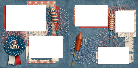 Let Freedom Ring - Digital Scrapbook Pages - INSTANT DOWNLOAD - EZscrapbooks Scrapbook Layouts July 4th - Patriotic, Patriotic, Summer