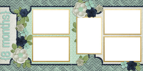 Baby Boy 8 Months - Digital Scrapbook Pages - INSTANT DOWNLOAD