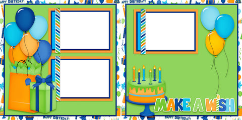 Make a Wish Green - Digital Scrapbook Pages - INSTANT DOWNLOAD