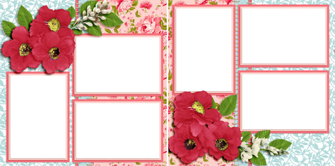 Flowers - Digital Scrapbook Pages - INSTANT DOWNLOAD