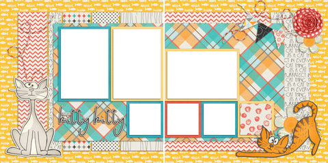 Here Kitty Kitty - Digital Scrapbook Pages - INSTANT DOWNLOAD - EZscrapbooks Scrapbook Layouts Pets