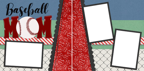 Baseball Mom - Digital Scrapbook Pages - INSTANT DOWNLOAD - EZscrapbooks Scrapbook Layouts baseball, Sports