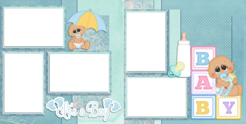 New Baby Boy - Digital Scrapbook Pages - INSTANT DOWNLOAD