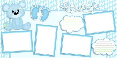 It's a Boy Bear - Digital Scrapbook Pages - INSTANT DOWNLOAD