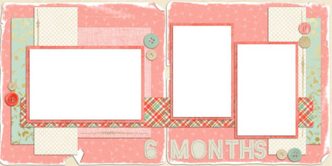 Baby Girl 6 Months - Digital Scrapbook Pages - INSTANT DOWNLOAD