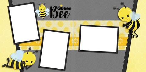 Queen Bee - Digital Scrapbook Pages - INSTANT DOWNLOAD - EZscrapbooks Scrapbook Layouts Bee, Bees, Summer