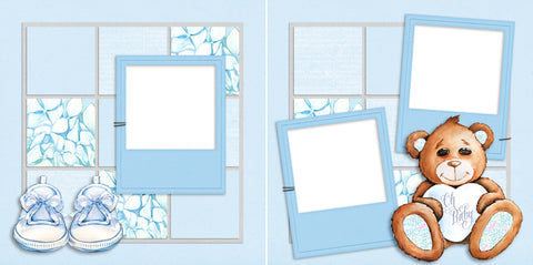 Oh Baby - Boy Bear - Digital Scrapbook Pages - INSTANT DOWNLOAD - EZscrapbooks Scrapbook Layouts baby, bear, blue, boy, son, teddy