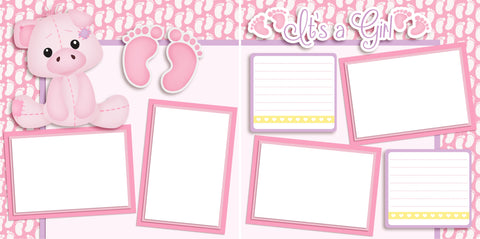 It's a Girl - Piggy - Digital Scrapbook Pages - INSTANT DOWNLOAD