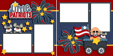 Little Patriots Baby Boy - Digital Scrapbook Pages - INSTANT DOWNLOAD - EZscrapbooks Scrapbook Layouts Baby - Toddler, July 4th - Patriotic
