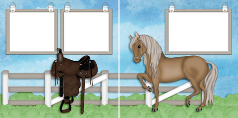 Horse Life - Digital Scrapbook Pages - INSTANT DOWNLOAD - 2019 - EZscrapbooks Scrapbook Layouts Horses, Western - Cowboy