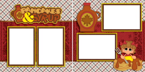 Pancakes & Syrup Girl - Digital Scrapbook Pages - INSTANT DOWNLOAD