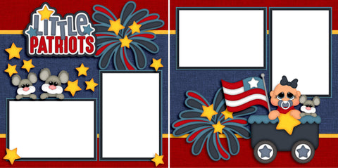 Little Patriots Baby Girl - Digital Scrapbook Pages - INSTANT DOWNLOAD - EZscrapbooks Scrapbook Layouts Baby - Toddler, July 4th - Patriotic