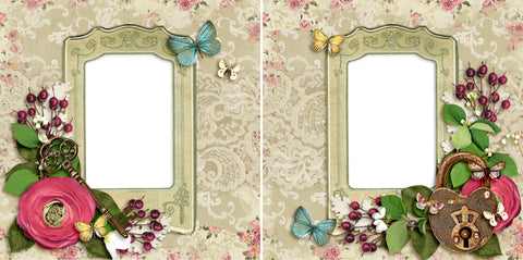 Vintage Lock & Key - Digital Scrapbook Pages - INSTANT DOWNLOAD
