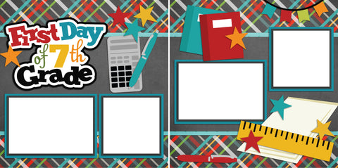 First Day of 7th Grade - Digital Scrapbook Pages - INSTANT DOWNLOAD