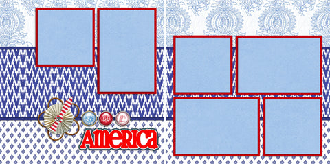 America - 2136 - EZscrapbooks Scrapbook Layouts July 4th - Patriotic
