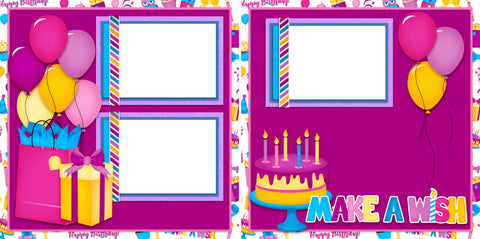 Make a Wish Purple - Digital Scrapbook Pages - INSTANT DOWNLOAD