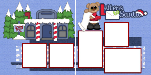 Letters to Santa Girl Digital Quick Page Set - INSTANT DOWNLOAD - EZscrapbooks Scrapbook Layouts Christmas