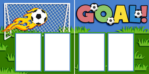 Goal Soccer - Digital Scrapbook Pages - INSTANT DOWNLOAD - EZscrapbooks Scrapbook Layouts ball, goal, soccer, sports