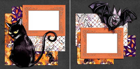 Black Cats & Bats - Digital Scrapbook Pages - INSTANT DOWNLOAD - EZscrapbooks Scrapbook Layouts Halloween