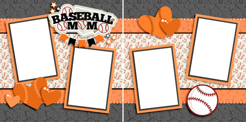 Baseball Mom Orange - Digital Scrapbook Pages - INSTANT DOWNLOAD