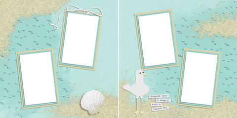 Seagull with Frenchfry - Digital Scrapbook Pages - INSTANT DOWNLOAD - EZscrapbooks Scrapbook Layouts Beach, Summer, Vacation