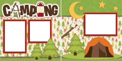 Camping - Digital Scrapbook Pages - INSTANT DOWNLOAD