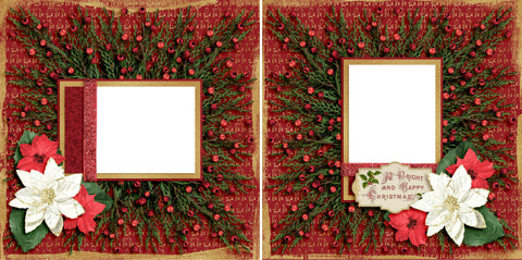 Santa's Wreath - Digital Scrapbook Pages - INSTANT DOWNLOAD