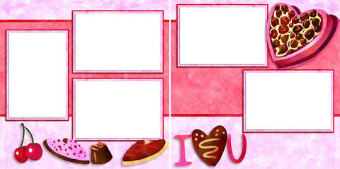 I Heart U - Digital Scrapbook Pages - INSTANT DOWNLOAD