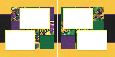Purple Green & Gold - Digital Scrapbook Pages - INSTANT DOWNLOAD - EZscrapbooks Scrapbook Layouts New Orleans - Mardi Gras