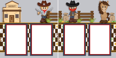Little Sheriff - Digital Scrapbook Pages - INSTANT DOWNLOAD - EZscrapbooks Scrapbook Layouts Western - Cowboy
