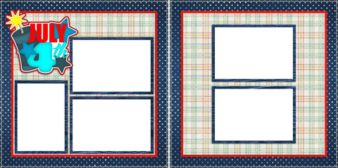 4th of July  -Digital Scrapbook Pages - INSTANT DOWNLOAD - EZscrapbooks Scrapbook Layouts July 4th - Patriotic