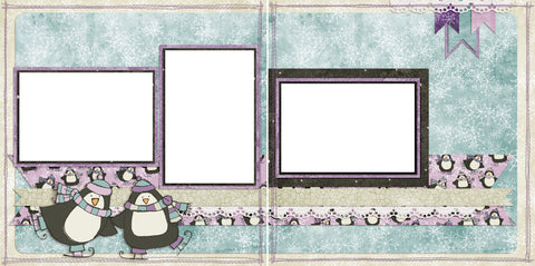 Ice Skating Penguins - Purple - Digital Scrapbook Pages - INSTANT DOWNLOAD - EZscrapbooks Scrapbook Layouts Christmas, holidays, santa
