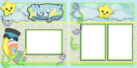 Happy New Year Baby Boy - Digital Scrapbook Pages - INSTANT DOWNLOAD