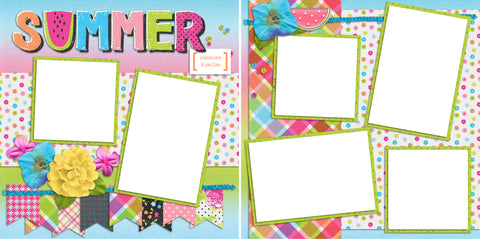 Summer -Digital Scrapbook Pages - INSTANT DOWNLOAD - EZscrapbooks Scrapbook Layouts Summer