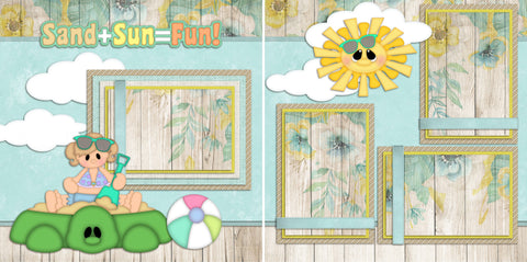 Sand Sun Fun Girl - 82 - EZscrapbooks Scrapbook Layouts Beach - Tropical