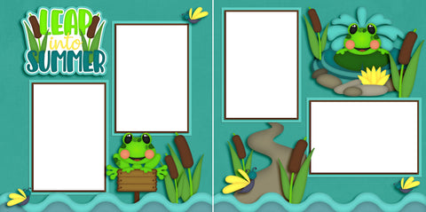 Leap into Summer- Digital Scrapbook Pages - INSTANT DOWNLOAD - EZscrapbooks Scrapbook Layouts beach, froggies, frogs, summer, vacation