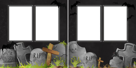 Tombstones - Digital Scrapbook Pages - INSTANT DOWNLOAD - EZscrapbooks Scrapbook Layouts Halloween
