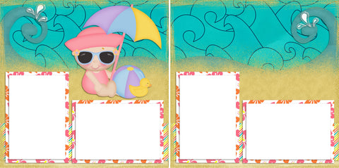 Beach Baby Girl - Digital Scrapbook Pages - INSTANT DOWNLOAD