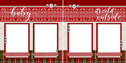 Baby It's Cold Outside - Digital Scrapbook Pages - INSTANT DOWNLOAD - EZscrapbooks Scrapbook Layouts Christmas