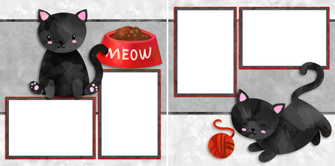 Black Kitty - Digital Scrapbook Pages - INSTANT DOWNLOAD