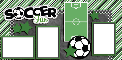 Soccer Fun Green - Digital Scrapbook Pages - INSTANT DOWNLOAD