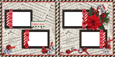 Christmas Music - Digital Scrapbook Pages - INSTANT DOWNLOAD - 2019