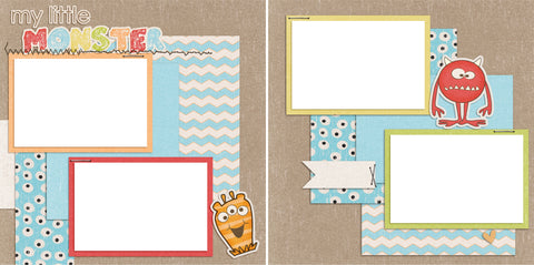 My Little Monster - Digital Scrapbook Pages - INSTANT DOWNLOAD